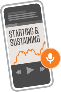 An illustration of Starting & Sustaining on a mobile device audio player.